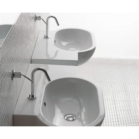 Globo Bowl Umywalka wisząca z półką po prawej stronie 75x51cm, biała SC023.BI