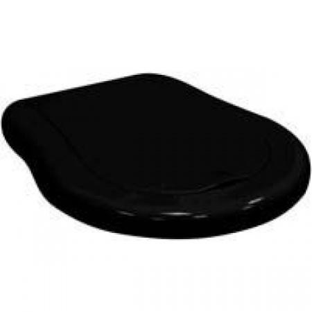 Kerasan Retro Deska WC wolnoopadająca, czarna matowa zawiasy złote 108531