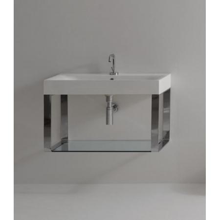 Kerasan Cento Półka na relingach do umywalki 80 cm x 45 cm, nikiel 9126K2