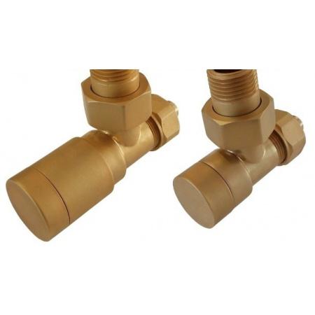 Schlosser Elegant Zestaw zaworów grzejnikowych złoto mat wersja kątowa (604200052)