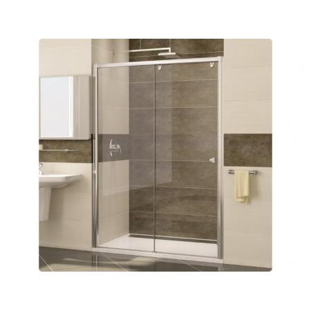 Ronal Pur Light S Drzwi prysznicowe dwuczęściowe - Mocowanie lewe 140 x 200 cm Chrom Pas satynowy poziomy (PLS2G1405051-01)