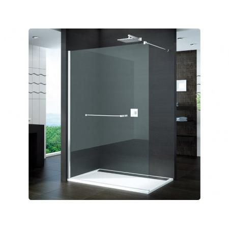 Ronal Pur Ścianka prysznicowa wolnostojąca, montaż z profilem przyściennym - 75 x 200cm Chrom Szkło cieniowane czarne (PDT4P0751055)