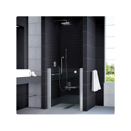 Ronal Mobility Drzwi prysznicowe jednoczęściowe, skrócone o połowę - Mocowanie prawe 90 x 98, 3 cm Chrom Wzór efektu lustrzanego (SLM1D09005053)