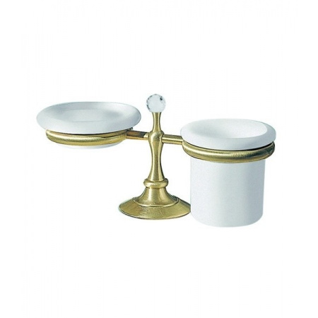 Giulini Giovanni Ibisco Crystal Mydelniczka + Kubek wolnostojący ceramika - Swarovski, stare złoto RG1128BR
