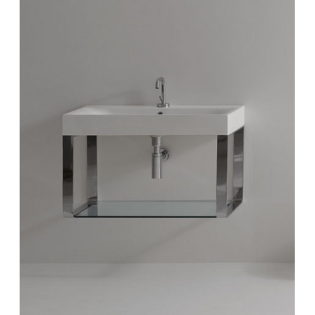Kerasan Cento Półka na relingach do umywalki 100 cm x 45 cm, nikiel 9153K2