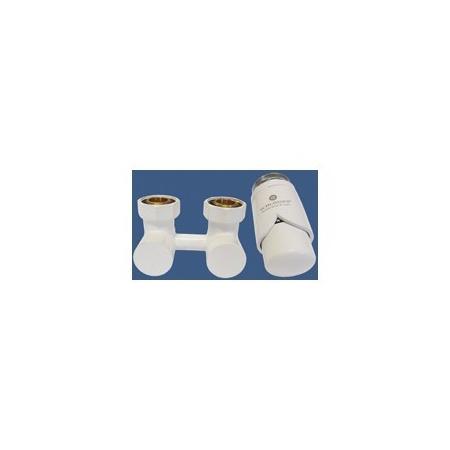 Schlosser Exclusive zestaw armatury 3/4xM22x1,5 prosty biały + Nypel 2szt. 1/2 x 3/4 601000021