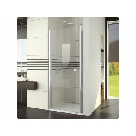 Ronal Swing-Line Drzwi prysznicowe jednoczęściowe - 90 x 195 cm Chrom Szkło cieniowane niebieski (SL109005054)
