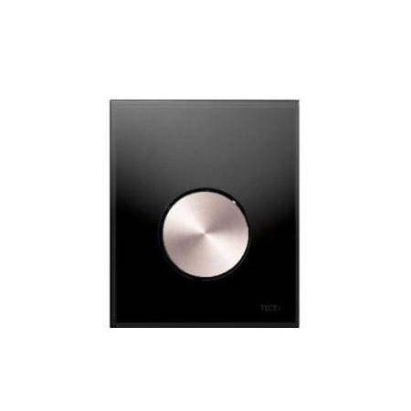 Tece Loop Przycisk spłukujący ze szkła do pisuaru, szkło czarne, przycisk stal szlachetna szczotkowana 9.242.663