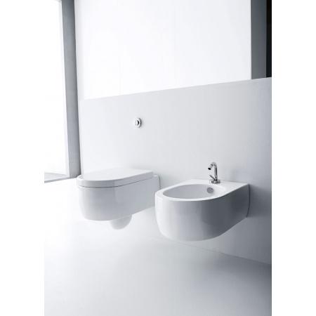 Kerasan Flo Zestaw Muszla klozetowa miska WC podwieszana 36x50 cm z deską sedesową zwykłą, biała 3115+318901
