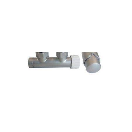 Schlosser Zestaw - zawór termostatyczny z głowicą termostatyczną Duo-plex 3/4 x M22x1,5 prawy satyna+Nyple (602100009)
