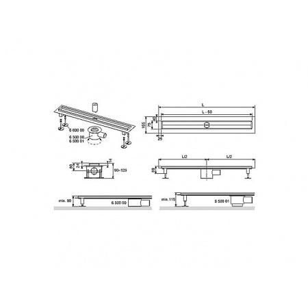 Tece Drainline Rynna odpływowa prosta z kołnierzem - 150 cm (601500)