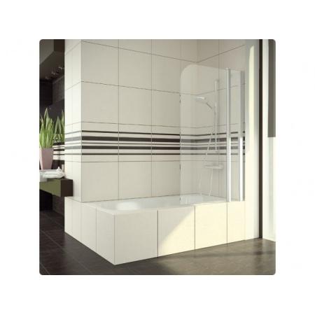 Ronal Swing-Line Parawan nawannowy dwuczęściowy - Mocowanie prawe 100 x 150 cm srebrny matowy Szkło przezroczyste (SLB13D1000107)