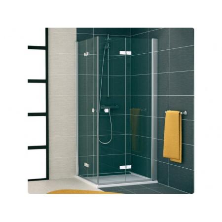 Ronal Swing Line F Kabina prysznicowa, wejście narożna z drzwiami dwuczęściowymi skrzydłowymi, część 1/2 - Mocowanie prawe 80 x 195 cm srebrny matowy Szkło cieniowane niebieski (SL