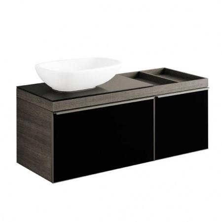 Keramag Citterio Szafka podumywalkowa wisząca lewa 118,4x54,3x50,4 cm, dąb czarny/szkło czarne 835721000