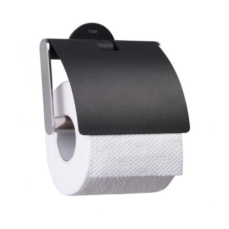 Tiger Metropolitan Uchwyt na papier toaletowy z pokrywką Czarny/Chrom 438010746