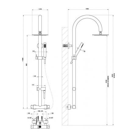 Gessi Minimali Zestaw natryskowy termostatyczny chrom 23475.031 / 23475031