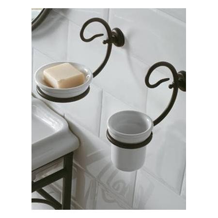 Globo Paestum Kubek ceramiczny wiszący 21x9x10 cm, biały/antyczny metal PA040