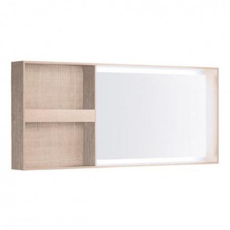 Keramag Citterio Lustro prostokątne 133,4x58,4x14 cm z oświetleniem LED i z półkami, dąb jasny 835635000