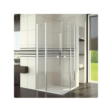 Ronal Swing-Line Kabina prysznicowa, wejście narożne podwójne, część 1/2 - Mocowanie prawe 100 x 195 cm srebrny matowy Szkło cieniowane niebieski (SLE2D10000154)