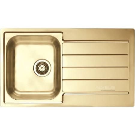Alveus Monarch-Line 20 Zlewozmywak stalowy 86x50 cm 1-komorowy z ociekaczem, złoty 1068988