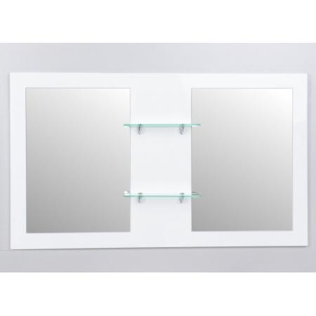 Antado Sycylia Lustro podwójne na płycie 136x80 cm z półkami szklanymi, biały połysk KTS-L2-80X136-WS/662926