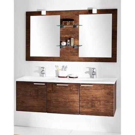 Antado Sycylia Lustro podwójne na płycie 136x80 cm z półkami szklanymi, stare drewno KTSL280X13650/649514