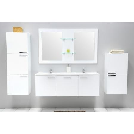Antado Sycylia Szafka z umywalką podwójną 136 cm, biały połysk KTS-140/3-WS + UMMO-1360-03D