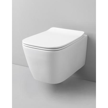 Art Ceram A16 Zestaw Toaleta WC podwieszana 52x36 cm Rimless z deską sedesową wolnoopadającą Slim, biały ASV00301;00+ASA001