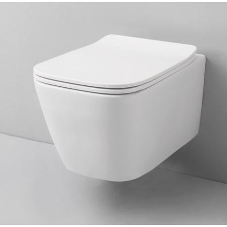 ArtCeram A16 Mini Zestaw Toaleta WC podwieszana 45x36 cm Rimless bez kołnierza, biała ASV00501;00+ASA00201