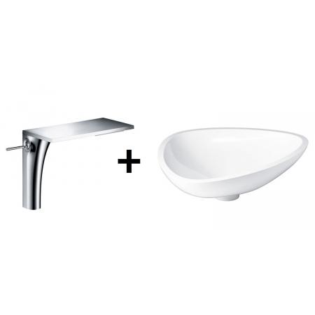 Axor Massaud Zestaw Umywalka nablatowa 57x45 cm z jednouchwytową baterią umywalkową wysoką, biała 42305000+18020000