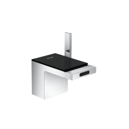 Axor MyEdition Jednouchwytowa bateria bidetowa stojąca z kompletem odpływowym push-open, chrom/szkło czarne 47210600