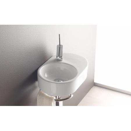 Bathco Benalmadena Umywalka wisząca 45,5x33,5x11 cm z relingiem, biała 4904