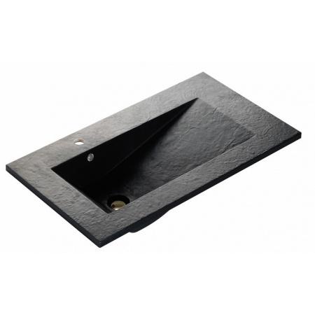Bathco Tecno Pizarra Umywalka wpuszczana w blat 80x45x16,5 cm dolomitowa, czarna 0567