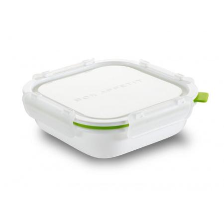 Black+Blum Pojemnik na posiłki 16,5x17,5x5,5 cm, biały/zielony BAP-SQ-S001