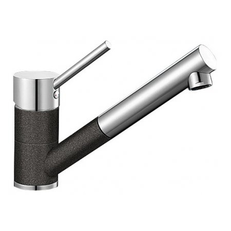 Blanco Antas-S Silgranit-Look Jednouchwytowa bateria kuchenna stojąca, czarna antracyt/chrom 515356