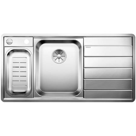 Blanco Axis III 6 S-IF Edition Zlewozmywak stalowy jednokomorowy 100x51 cm lewa komora,z ociekaczem, z korkiem automatycznym i z akcesoriami, stalowy 522107