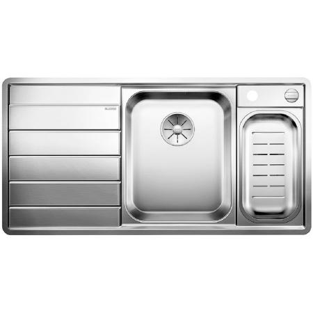 Blanco Axis III 6 S-IF Edition Zlewozmywak stalowy jednokomorowy 100x51 cm prawa komora,z ociekaczem, z korkiem automatycznym i z akcesoriami, stalowy 522106