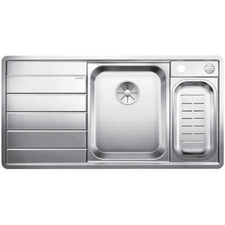 Blanco Axis III 6 S-IF Zlewozmywak stalowy dwukomorowy 100x51 cm prawa komora,z ociekaczem, z korkiem automatycznym i z akcesoriami, stalowy 522104