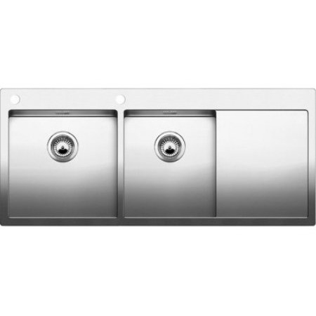Blanco Claron 8 S-IF Zlewozmywak stalowy dwukomorowy 116x51 cm lewy z korkiem automatycznym stalowy 521652