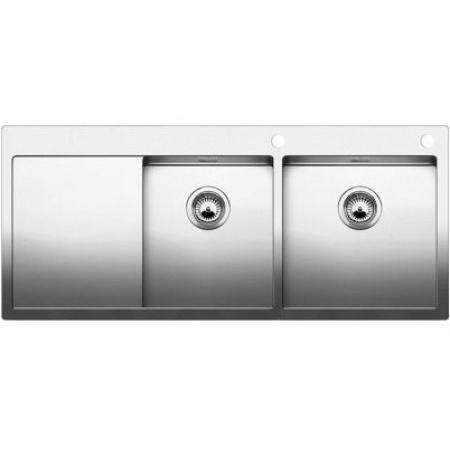 Blanco Claron 8 S-IF Zlewozmywak stalowy dwukomorowy 116x51 cm prawy z korkiem automatycznym stalowy 521651