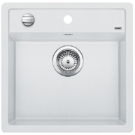 Blanco Dalago 5-F Zlewozmywak granitowy Silgranit PuraDur jednokomorowy 50,5x50 cm z korkiem automatycznym, biały 518532