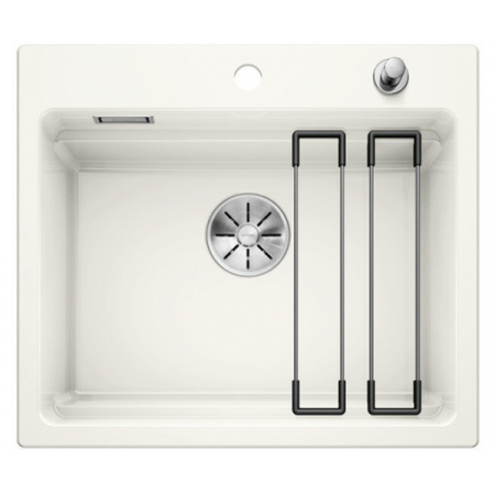 Blanco Etagon 6 Ceramika PuraPlus Zlewozmywak ceramiczny jednokomorowy 58,4x51 cm z korkiem automatycznym InFino biały połysk 525156