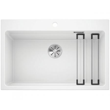 Blanco Etagon 8 Silgranit PuraDur Zlewozmywak granitowy jednokomorowy 78x51 cm z korkiem InFino biały 525191