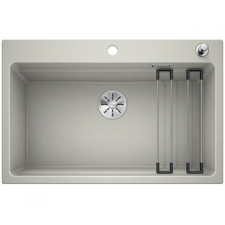 Blanco Etagon 8 Silgranit PuraDur Zlewozmywak granitowy jednokomorowy 78x51 cm z korkiem automatycznym InFino perłowoszary 525180