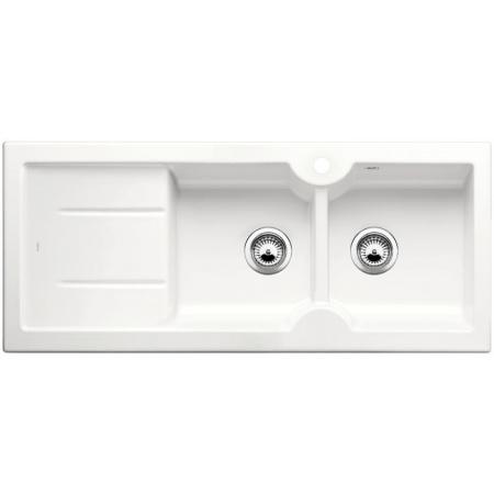 Blanco Idessa 8S Zlewozmywak ceramiczny dwukomorowy 116x50 cm prawa komora, z ociekaczem, bez korka automatycznego, biały z połyskiem 516938