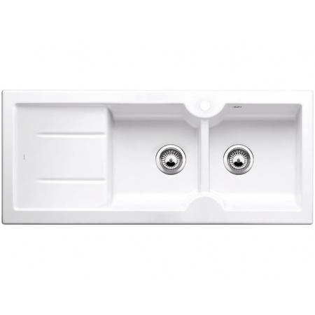 Blanco Idessa 8S Zlewozmywak ceramiczny dwukomorowy 116x50 cm lewa komora, z ociekaczem, bez korka automatycznego, biały z połyskiem 516939