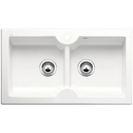 Blanco Idessa 9 Zlewozmywak ceramiczny dwukomorowy 86x50 cm z ociekaczem, bez korka automatycznego, biały z połyskiem 516940