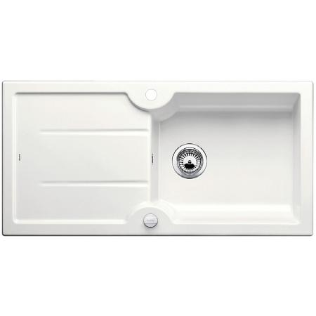 Blanco Idessa XL 6 S Zlewozmywak ceramiczny jednokomorowy 100x50 cm z ociekaczem, z korkiem automatycznym, biały z połyskiem 520308