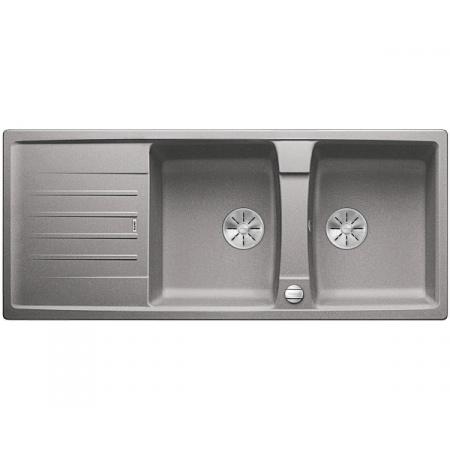 Blanco Lexa 8 S Silgranit PuraDur Zlewozmywak granitowy dwukomorowy 116x50 cm z korkiem automatycznym InFino alumetalik 524972