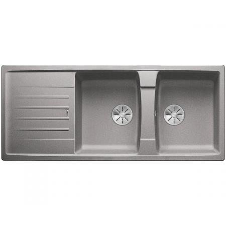 Blanco Lexa 8 S Silgranit PuraDur Zlewozmywak granitowy dwukomorowy 116x50 cm z korkiem InFino alumetalik 524982